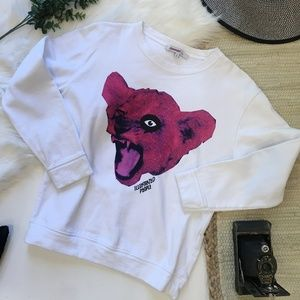 Illustrated People White Sweatshirt Pink Lion